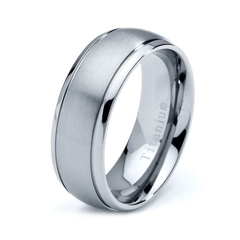 titanium wedding band men titanium rings mens
