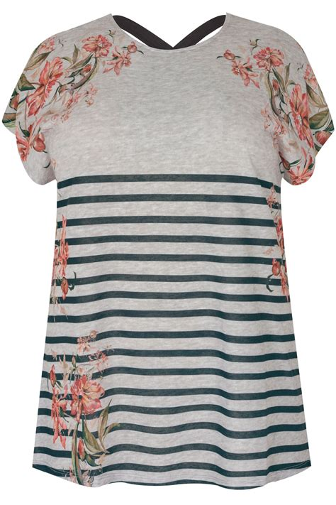 floral cross forms grey floral stripe print top with cross over back plus
