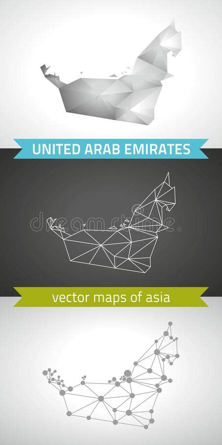 united arab emirates national vector drawing map  white