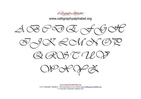 uppercase calligraphy  chart