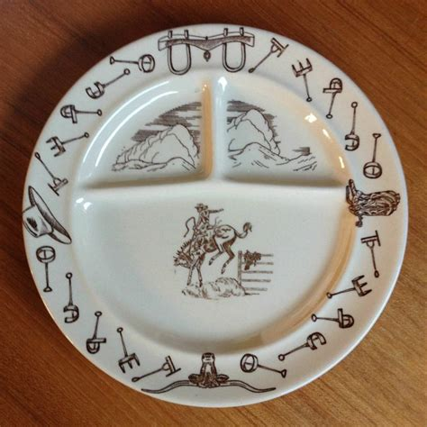 tepco western traveler divided grill plate bucking bronco cowboy branding irons western dinnerware antique dishes