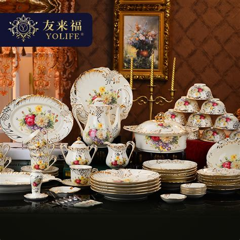 dinner sets dinnerware china korean gold porcelain coffee yolife dishes 72pcs wedding household outline cup aliexpress reliable company shenzhen