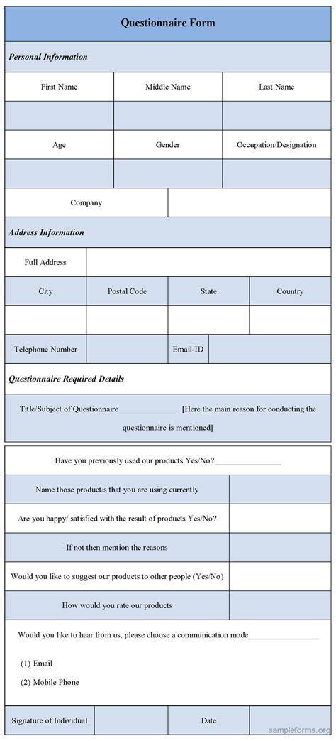 questionnaire template questionnaire form template sle forms
