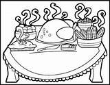 Thanksgiving Coloring Dinner Table Drawing Pages Eating Preschool Meal Getdrawings Printable Getcoloringpages Getcolorings Template sketch template