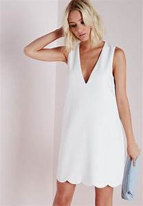 crepe plunge scallop hem shift dress white missguided With robe femme fluide