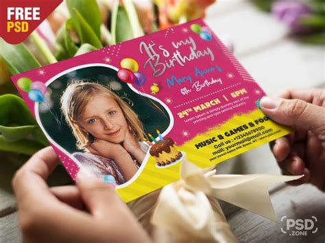 5x7 Birthday Invitation Card PSD PSD Zone