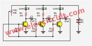 3 Led Flasher Circuit Using Astable Multivibrator