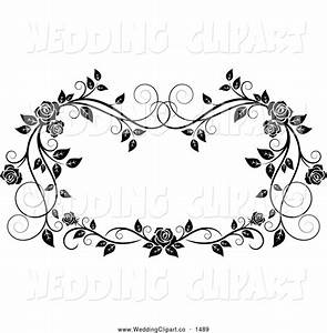 Vector Marriage Clipart of a Black and White Ornate Rose ...