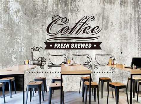 custom food shop wallpaperold cement wall coffeed retro