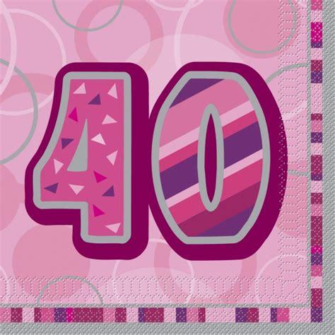 16 servietten zum 40 geburtstag in pink