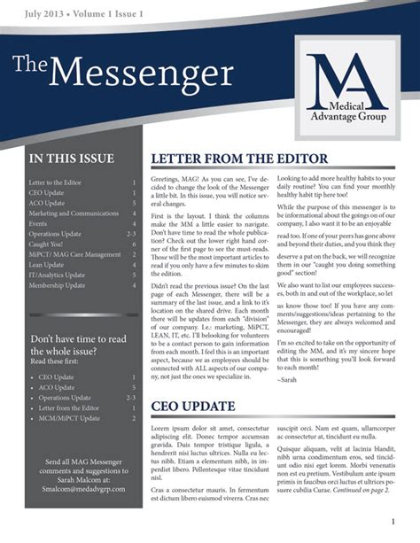 like the curved header and toc down the side business newsletter design molly mason