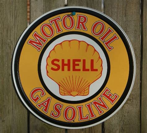 shell motor oil  tin metal vintage style sign garage