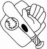 Baseball Coloring Bat Glove Mitt Printable Getcolorings Pages sketch template