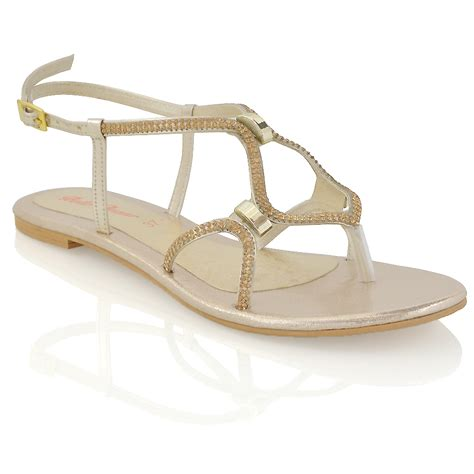 womens flat strappy sandals diamante ladies cut