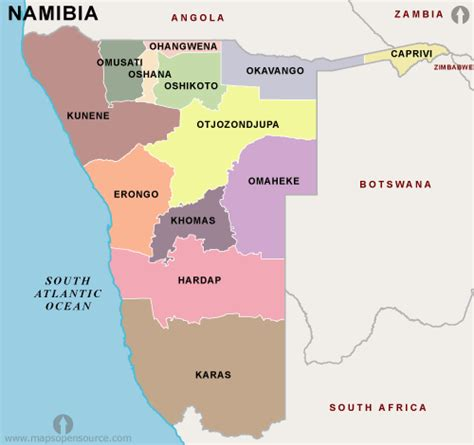Free Namibia Regions Map | Regions map of Namibia ...