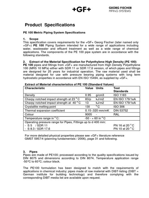 Product Specifications - PE 100 Metric Piping System