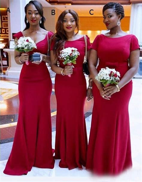african maid  honor evening gowns red  style