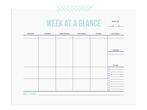 week at a glance calendar weekly charts lunchbox love