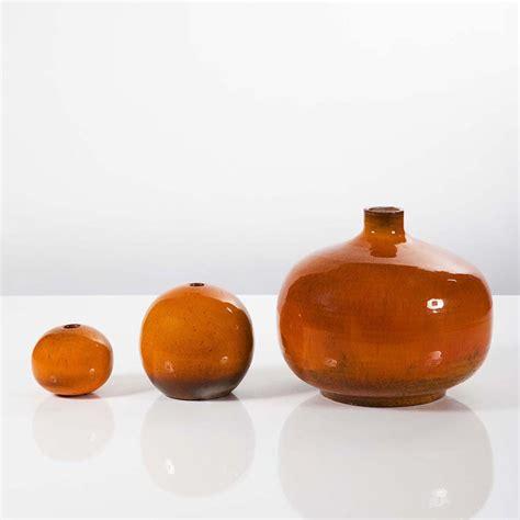 Orange Vases Accessories by Perignem 3 Orange Ceramic Vases Perignem Hora In