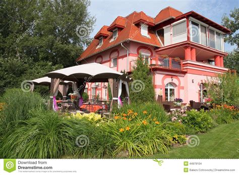 big new house with garden stock photo image 44979104