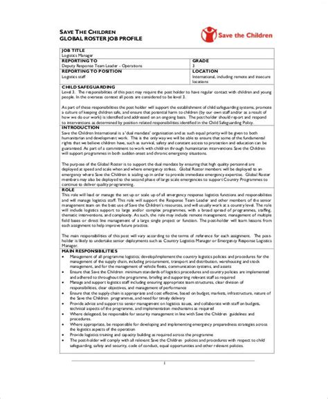 logistics description template logistics coordinator