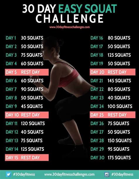 squat challenge  images  day workout challenge