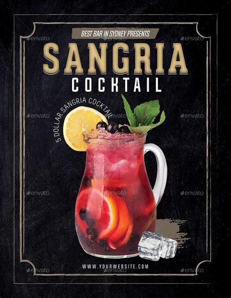sangria cocktail flyer template  tunagaga graphicriver