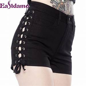 Eastdamo Fashion Shorts Women Sexy Side Lace Up Shorts High Waist Denim Shorts Plus Size Bandage ...