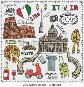 Italy Famous Rome Landmark,Lettering,Food Set.Vintage Hand ...
