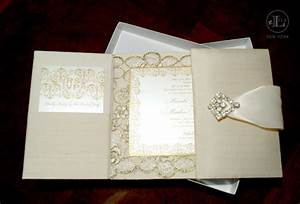 silk gatefold luxury wedding invitations with gold lace With luxury wedding invitations with crystals