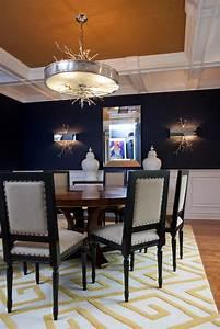 unique light fixture and burlap ceiling in navy blue