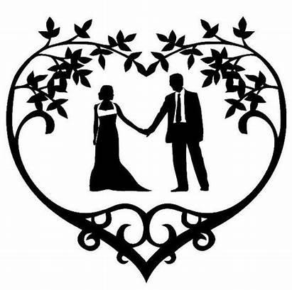 Silhouette Couple Vinyl Heart Clipart Decal Frame