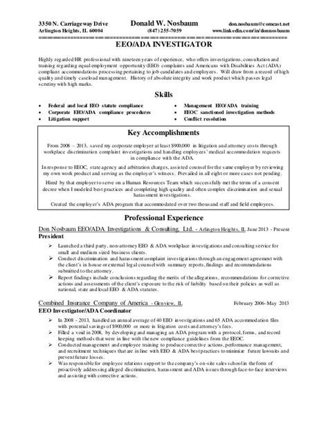Investigator Resume by Resume Eeo Investigator Revised 9 8 2015