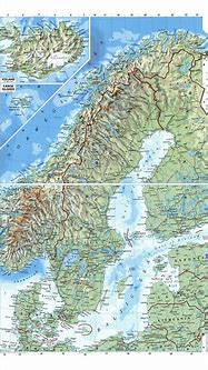 Large detailed physical map of Scandinavia   Baltic and ...