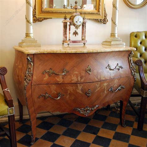 french bombe chest  drawers  marble top antiques