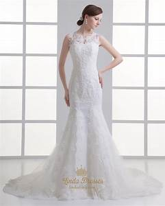 Ivory mermaid lace illusion neckline wedding dress for for Petite lace wedding dresses