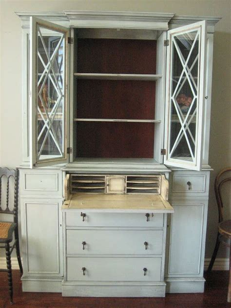 gray desk with hutch painted secretary desk with hutch european paint