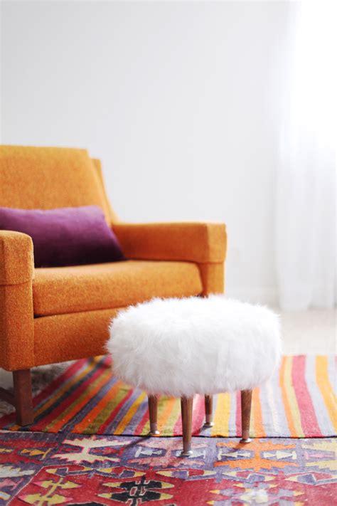 faux fur footstool  beautiful mess