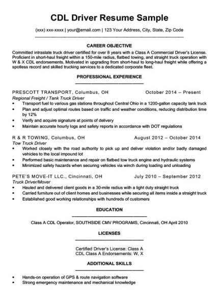 Resume Truck Driver Position by Truck Driver Resume Sle Resume Companion
