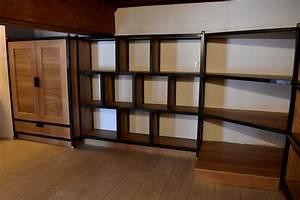 Bibliothèque Métal Et Bois : biblioth que bois et m tal le copeau et l 39 tincelle ~ Teatrodelosmanantiales.com Idées de Décoration