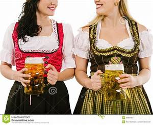 Women With Dirndl And Oktoberfest Beer Royalty Free Stock ...