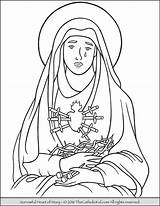 Coloring Mary Heart Sorrowful Sorrows Lady Thecatholickid Clip Virgin Catholic Drawing Sheets Clipart Holy Crafts Religious Clipground Adult sketch template