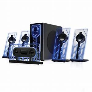 5 1 Surround Sound Computer Speakers With 80 Watts And Blue Led Glow Lights 637836584161
