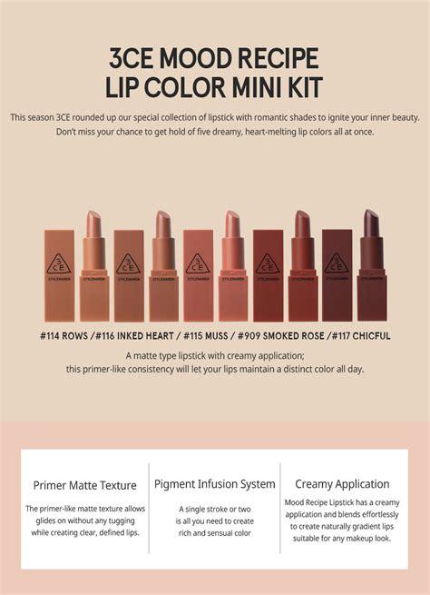 3ce lipstick set mini kit 3ce mood recipe lip color mini kit 5 color set 100
