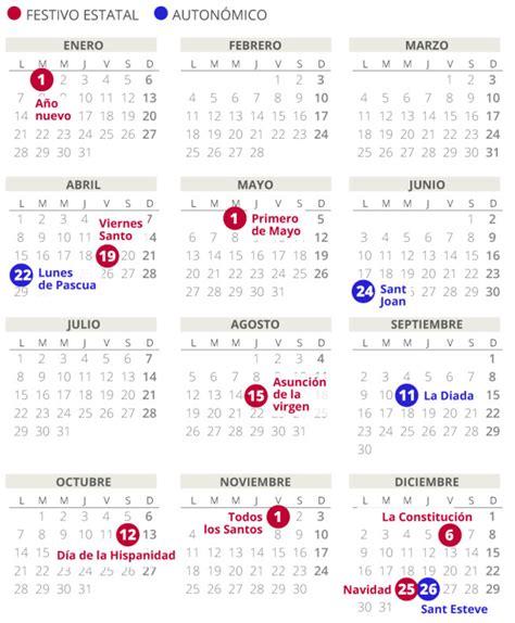 calendario laboral del en catalunya todos los festivos
