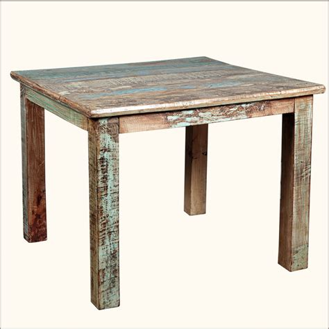 rustic reclaimed wood distressed  square kitchen dining