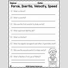 Force, Inertia, Velocity, And Speed  Science Worksheet By Teacher Gameroom