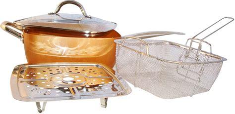 frying basket  piece glass lid copper pan steamer dish washer safe vi synchkg steamer