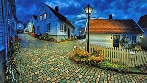 urban landscape, evening, city lights, street, houses ...