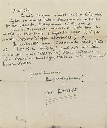 Letter Mccartney Paul Beatles Drummer Lyrics 1960